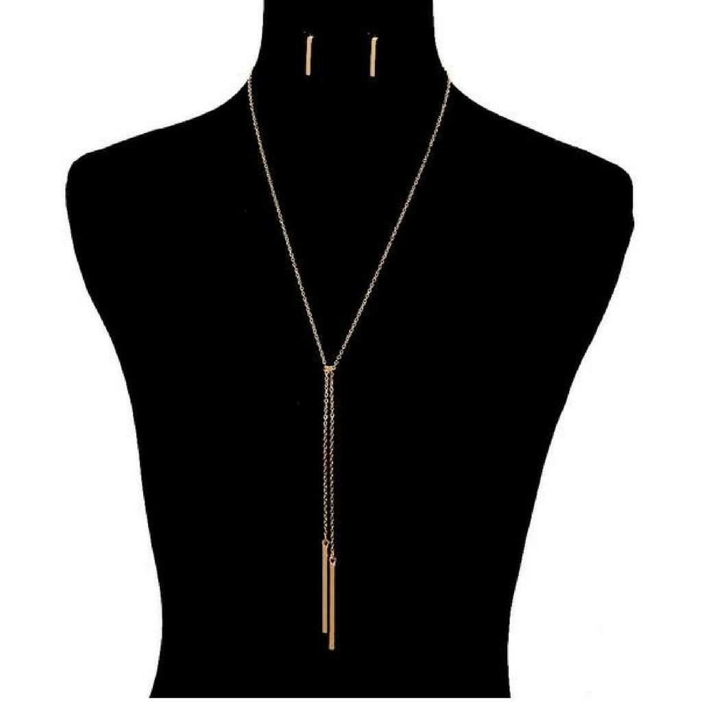 Gold Knotted Chain Bar Necklace - JaeBee Jewelry