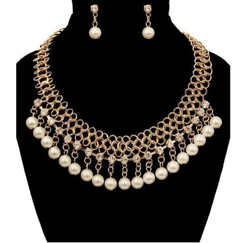 Gold Chain Pearl and Rhinestone Statement Necklace