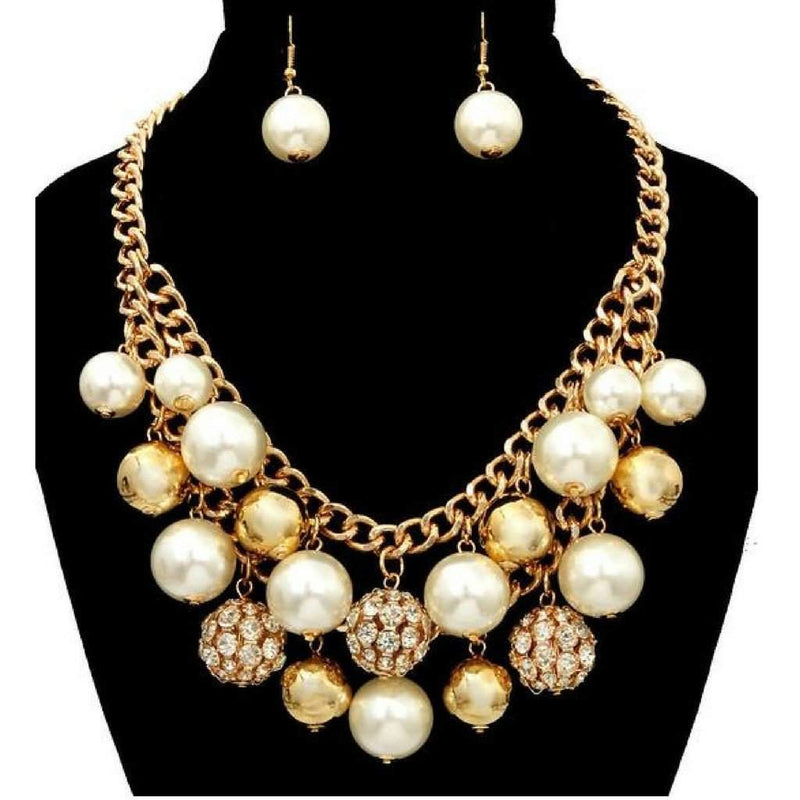 Pearl, Gold, and Crystal Ball Layered Necklace - JaeBee Jewelry