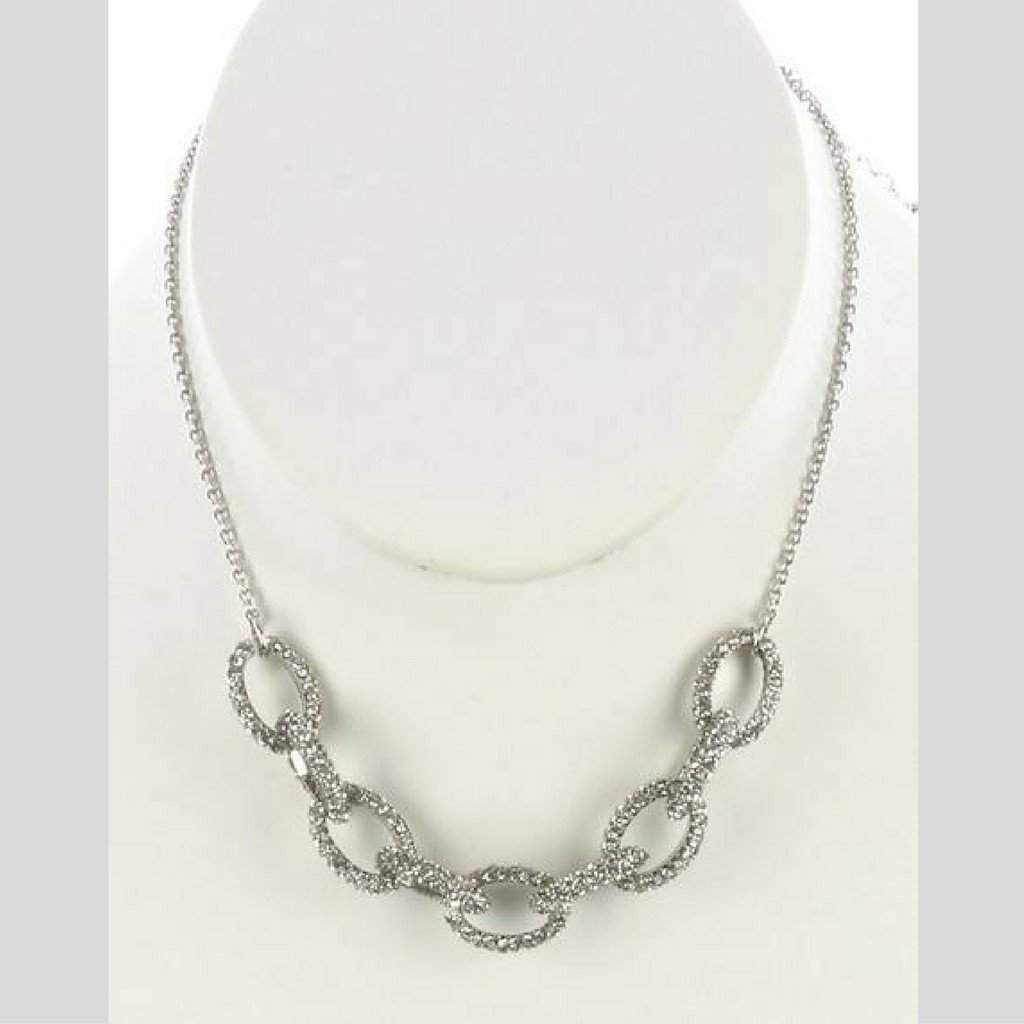 Silver Crystal Pave Chunky Chain Necklace - JaeBee Jewelry