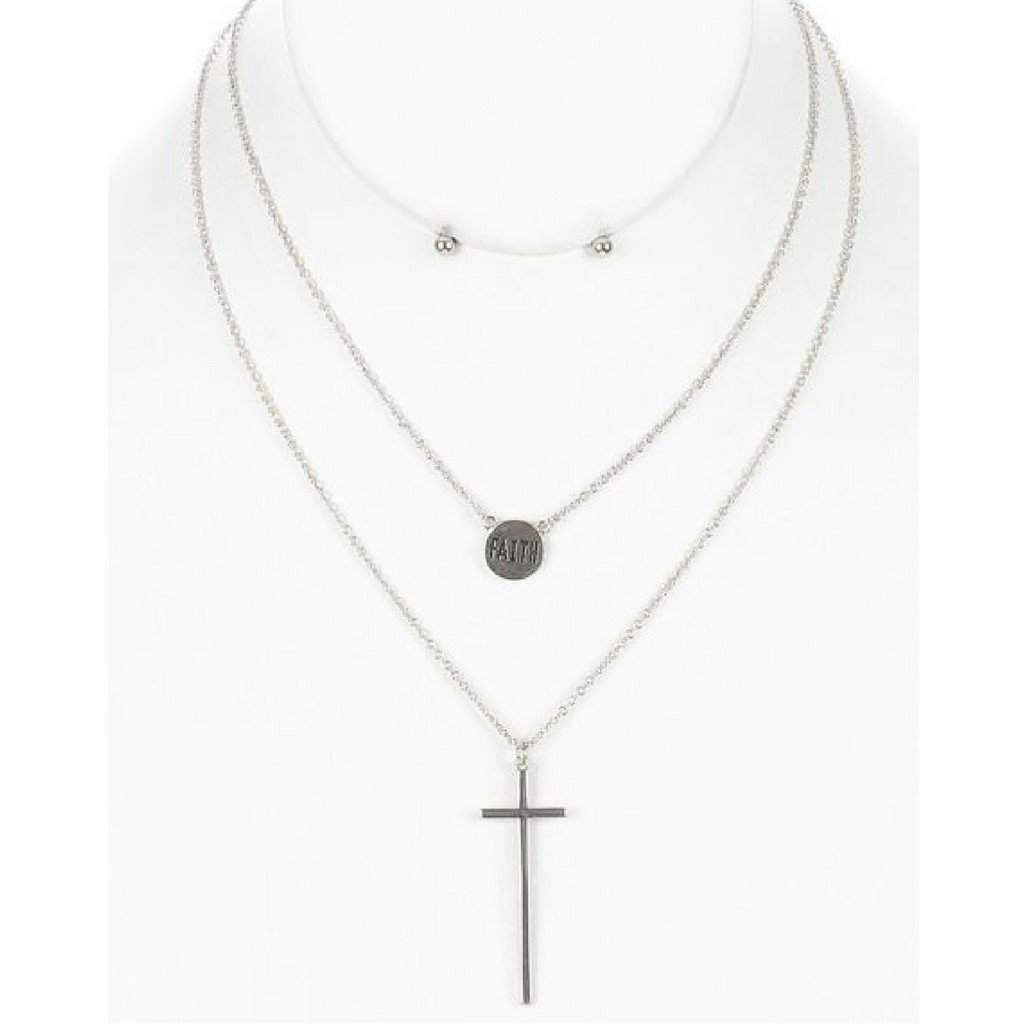 Silver Cross and Faith Charm Layered Necklace - JaeBee