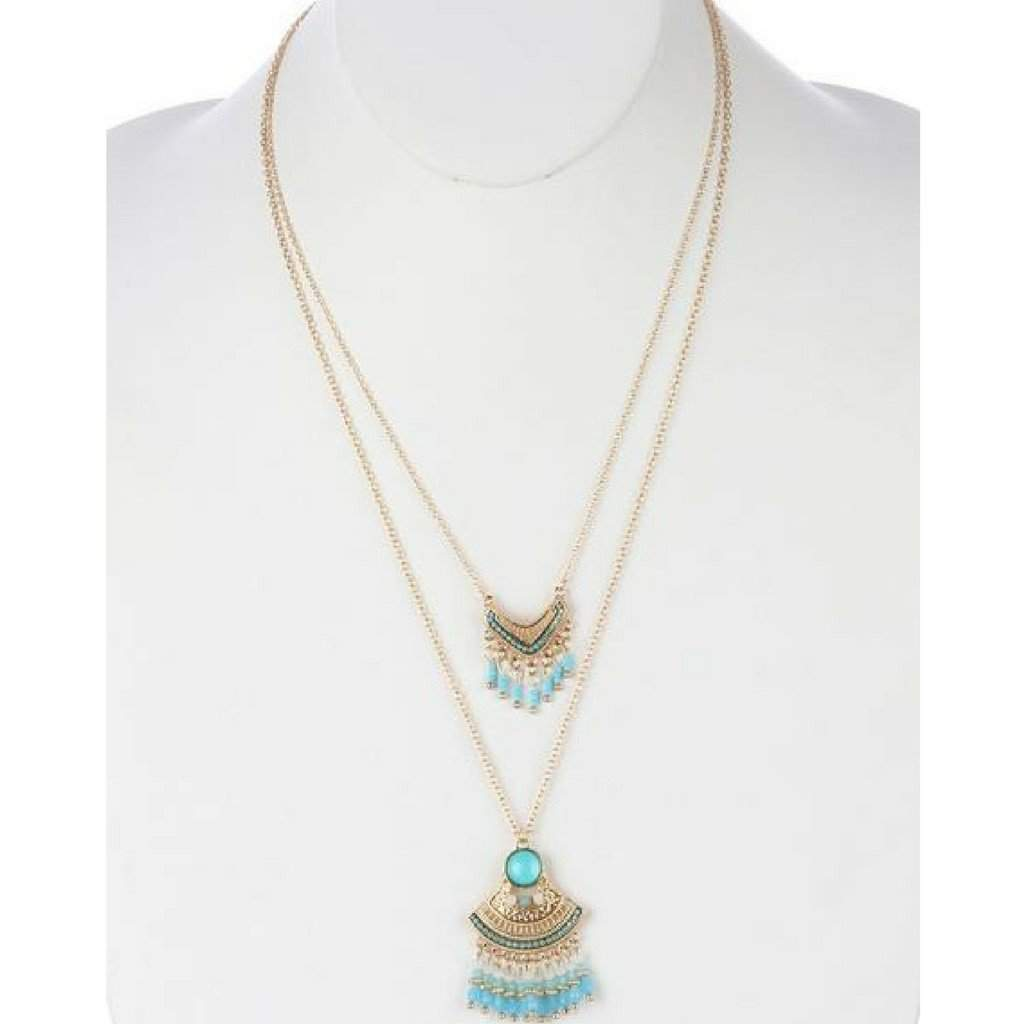Bohemian Style Turquoise Double Layered Fringe Necklace - JaeBee Jewelry