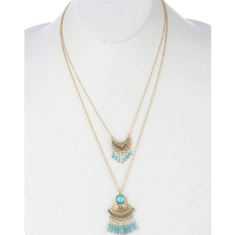 Bohemian Style Turquoise Double Layered Fringe Necklace