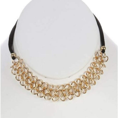 Triple Gold Chain and Black Suede Choker