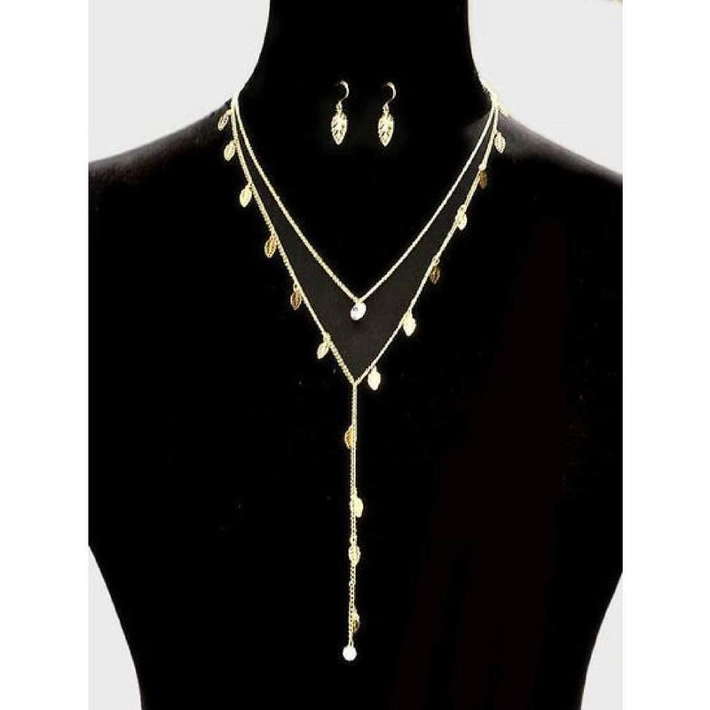 Double Layered Gold Leaf Y Necklace - JaeBee Jewelry