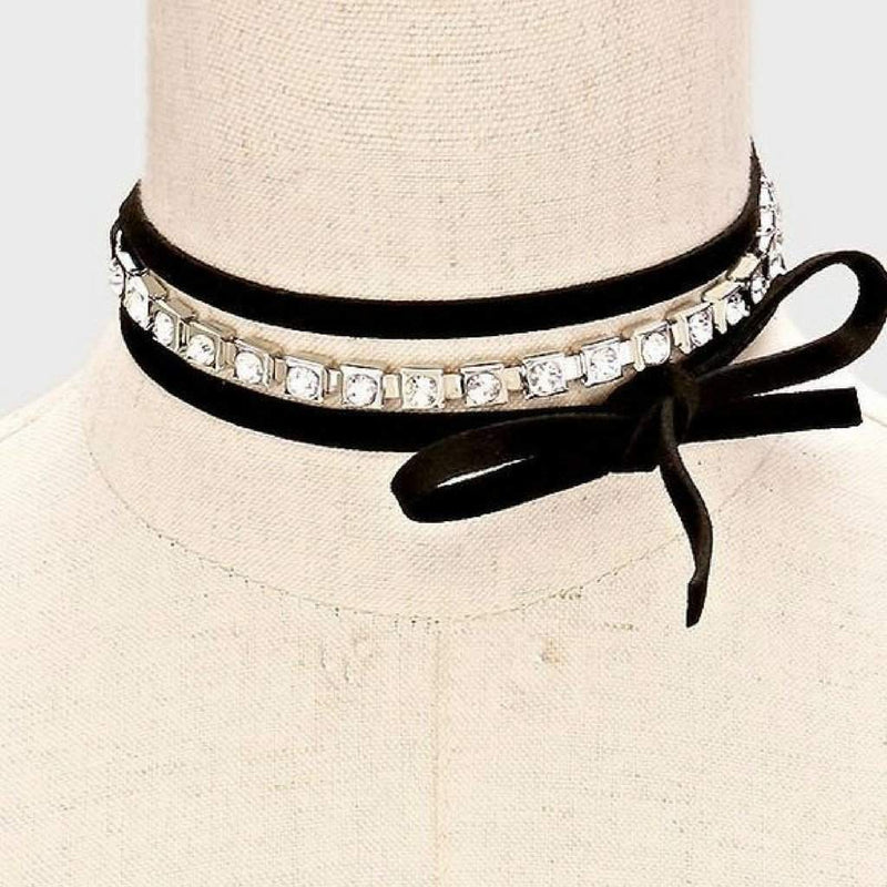 Crystal and Black Wrap Choker - JaeBee Jewelry