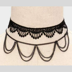 Black Two Piece Lace Crochet and Chain Choker - JaeBee