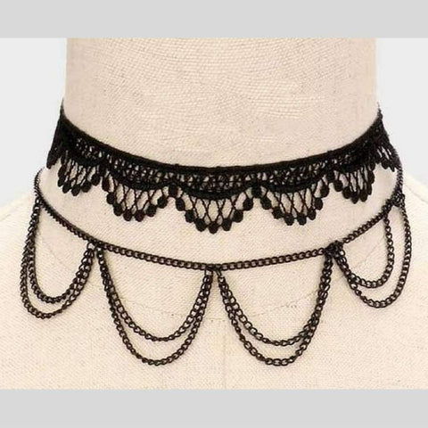 Black Two Piece Lace Crochet and Chain Choker