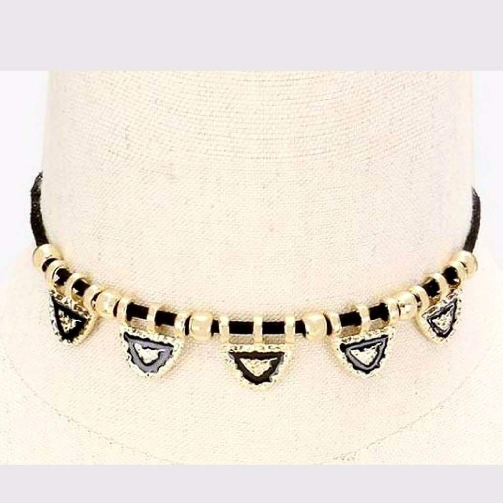Black and Gold Hammered Metal Triangle Choker - JaeBee Jewelry