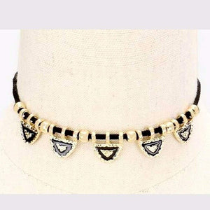 Black and Gold Hammered Metal Triangle Choker - JaeBee
