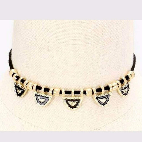 Black and Gold Hammered Metal Triangle Choker