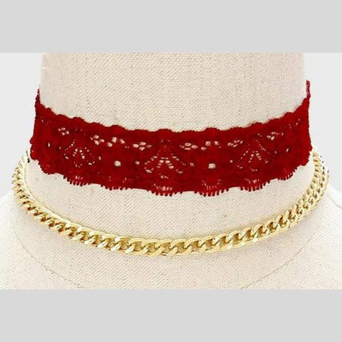 Burgundy Lace Choker and Gold Chain Choker Set