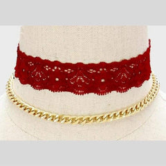 Burgundy Lace Choker and Gold Chain Choker Set - JaeBee Jewelry