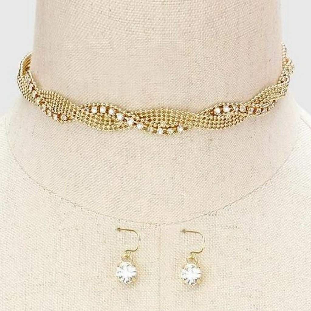 Gold and Crystal Twisted Choker - JaeBee Jewelry