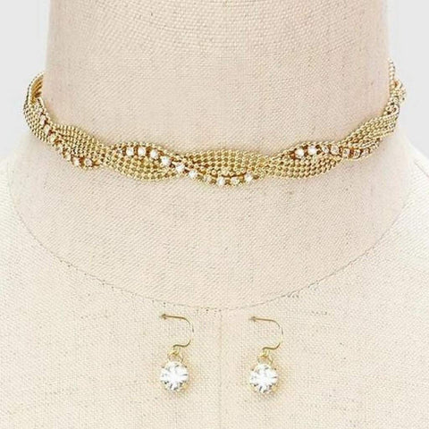 Gold and Crystal Twisted Choker