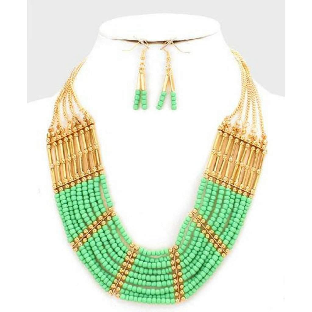 Green and Gold Tribal Beaded Necklace - JaeBee Jewelry