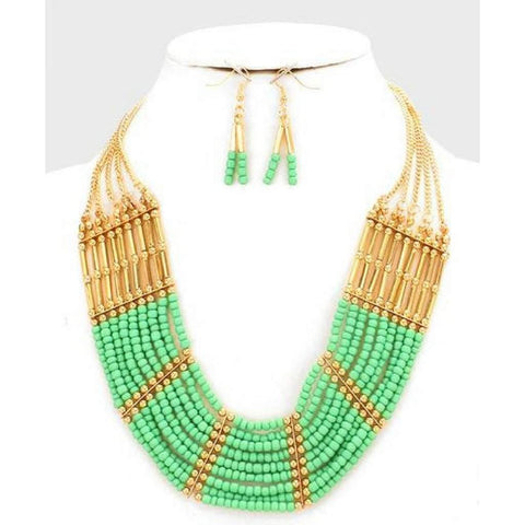 Green and Gold Tribal Beaded Necklace