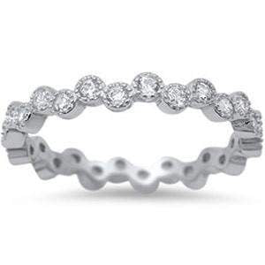 Sterling Silver Wavy CZ Stackable Ring - JaeBee Jewelry