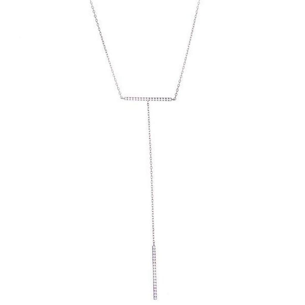 Sterling Silver and CZ Double Bar Necklace