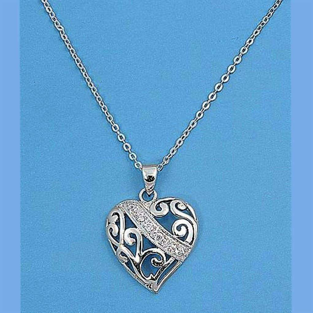 Sterling Silver and CZ Cut Out Heart Necklace - JaeBee