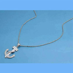 Sterling Silver and CZ Stone Anchor Charm Necklace - JaeBee Jewelry