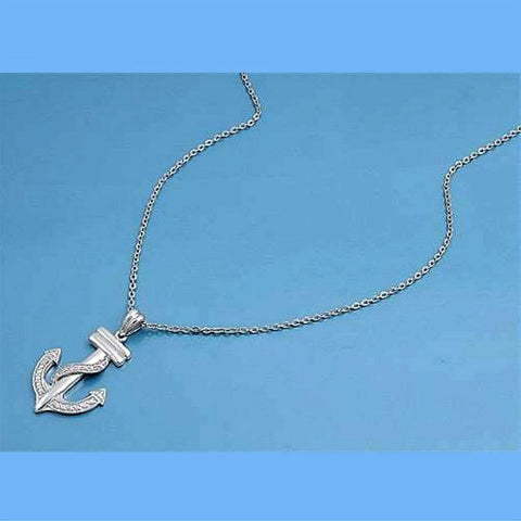 Sterling Silver and CZ Stone Anchor Charm Necklace