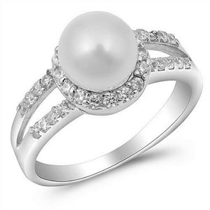 Pearl Wrapped CZ Sterling Silver Ring