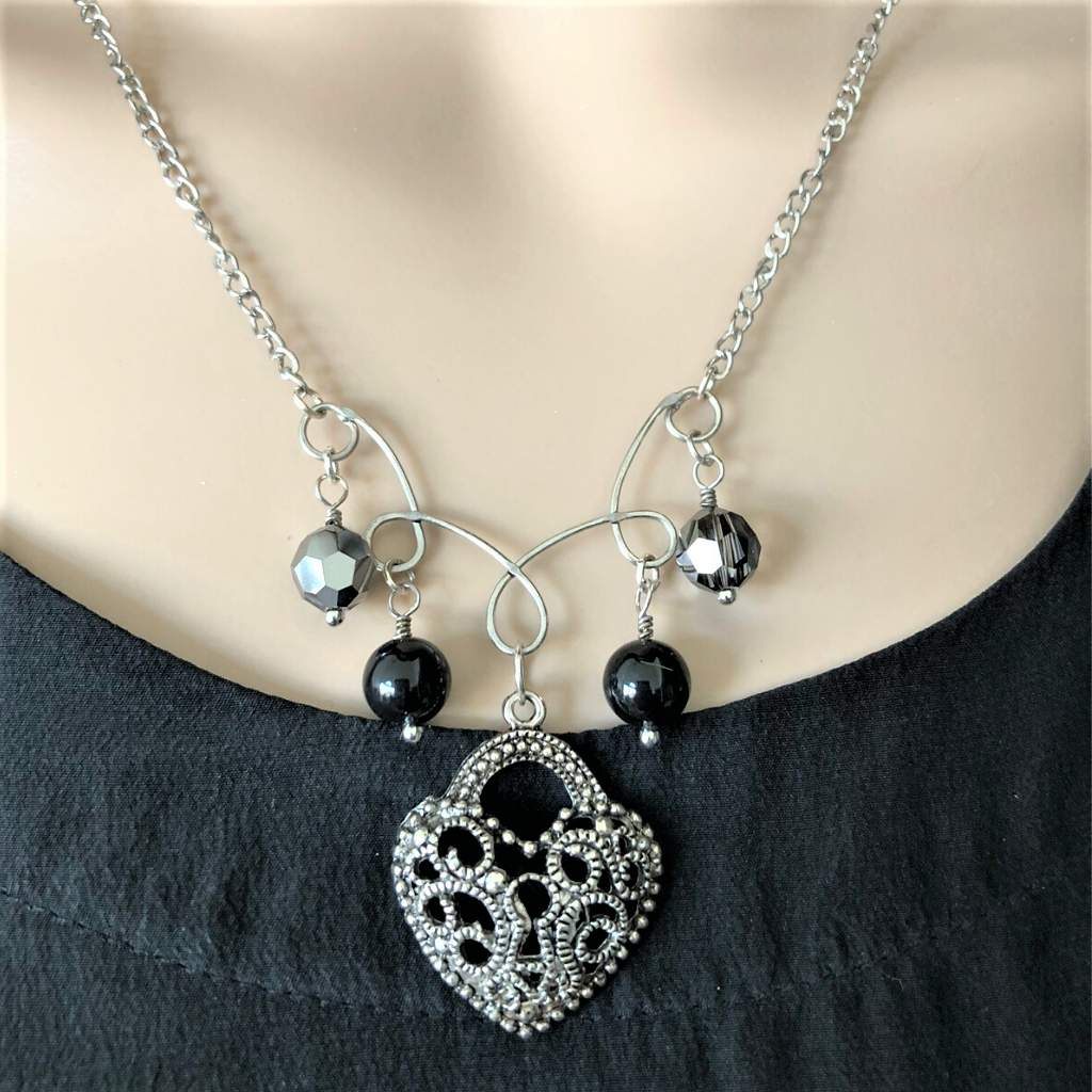 Silver Antique Heart Charm Necklace - JaeBee Jewelry