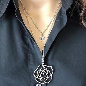 Silver Flower and Leaf Layered Long Necklace
