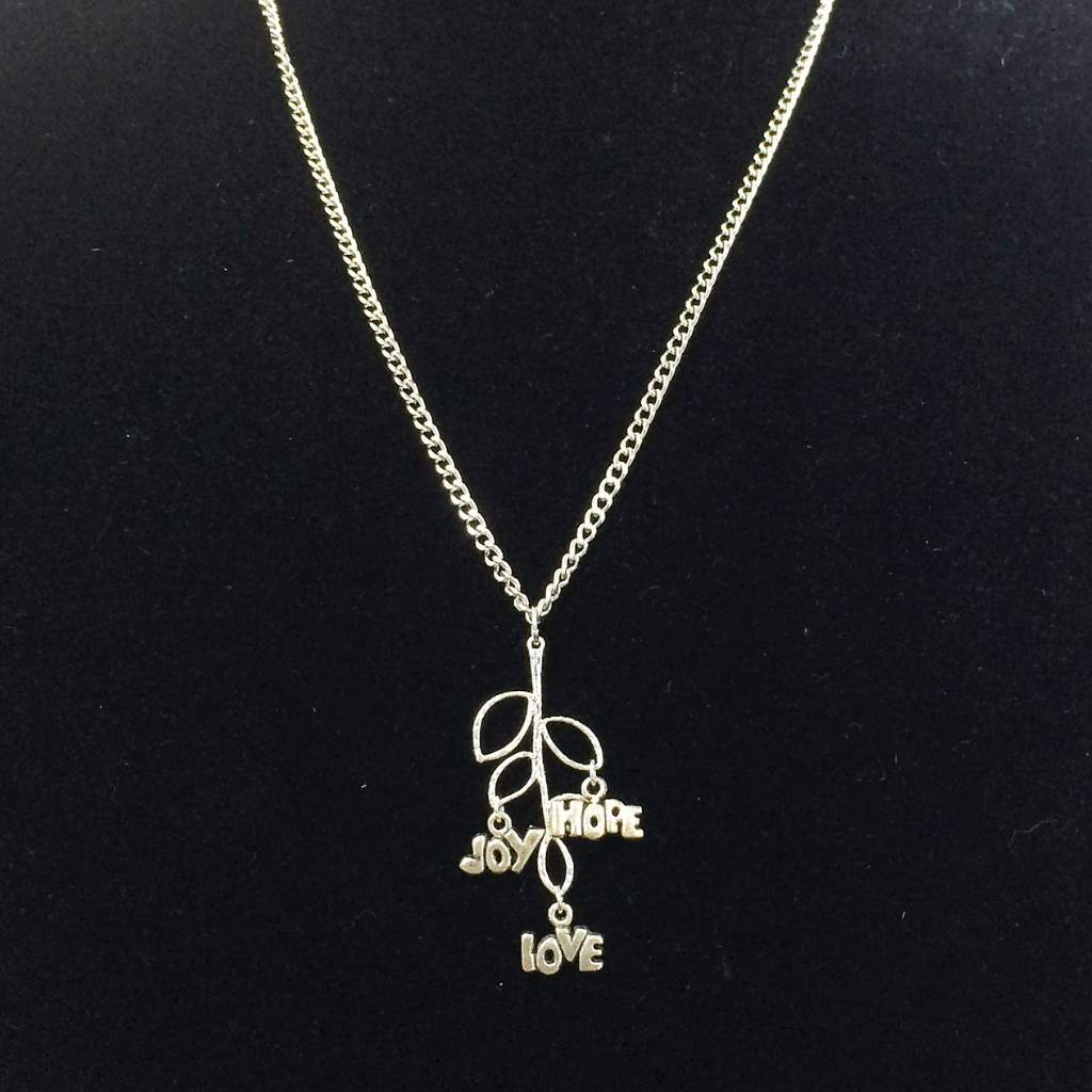 Silver Tree Branch Love, Joy, and Hope Charm Necklace - JaeBee Jewelry