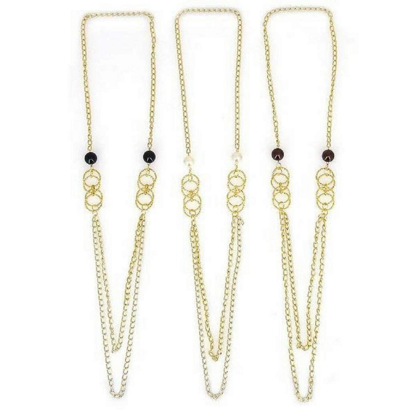 Long Gold Double Chain and Bead Necklace - JaeBee Jewelry
