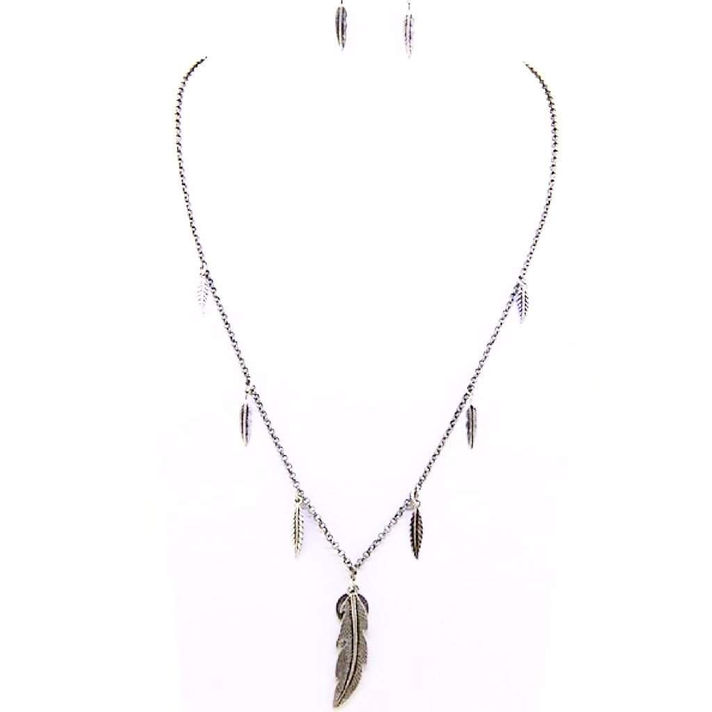 Burnished Silver Feather and Peace Sign Pendant Necklace - JaeBee Jewelry