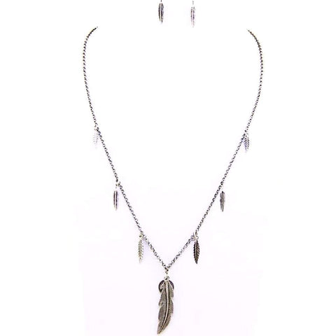Burnished Silver Feather and Peace Sign Pendant Necklace