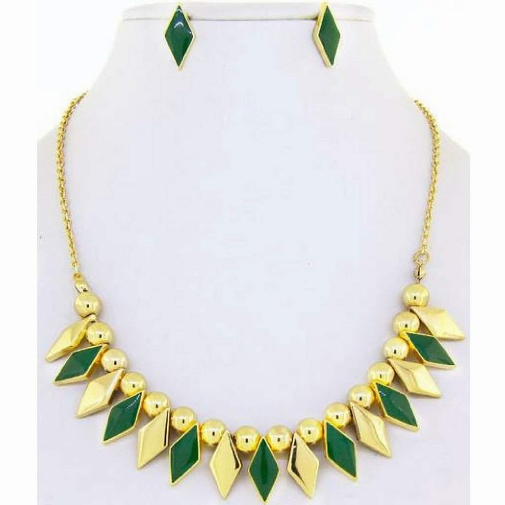 Green and Gold Diamond Necklace - JaeBee Jewelry