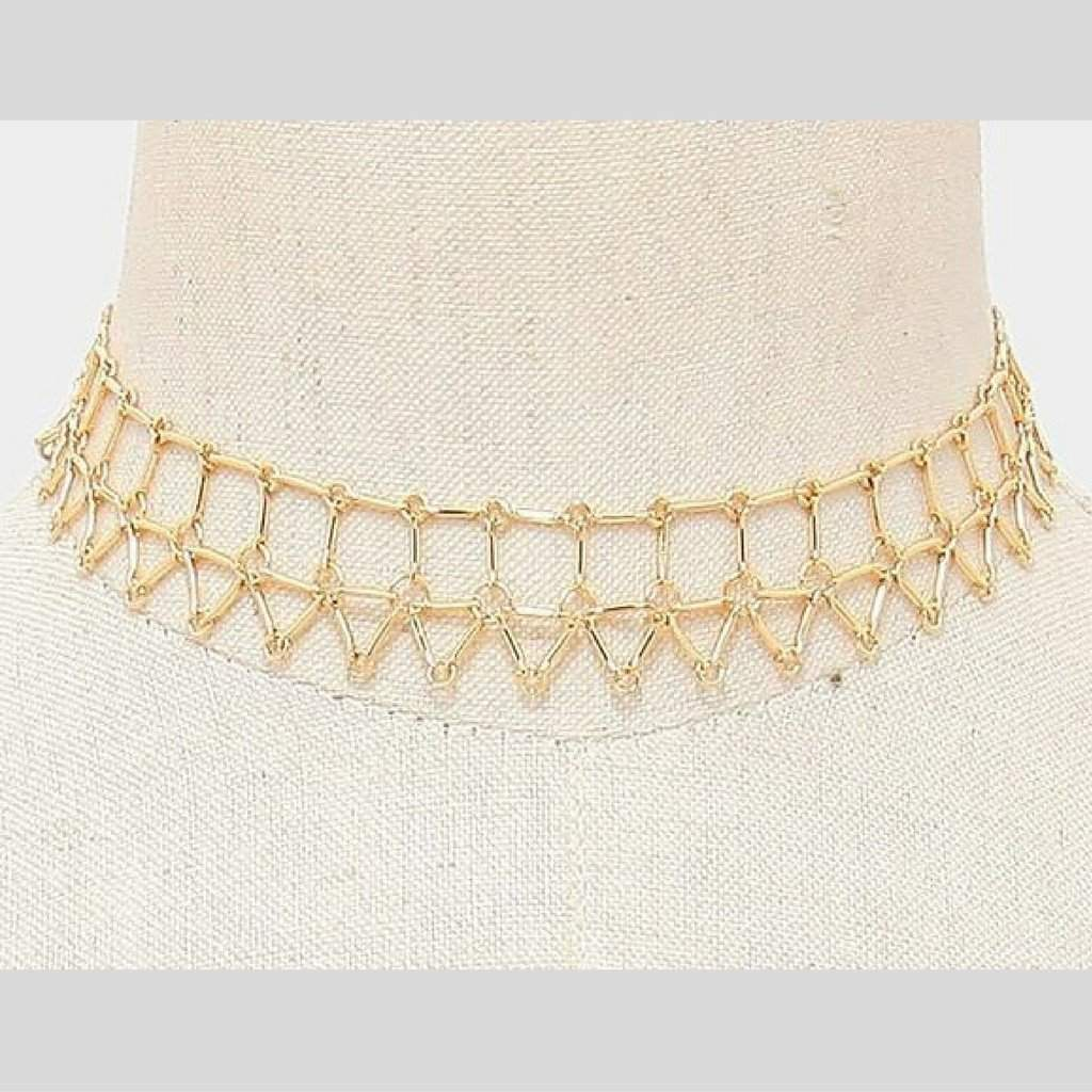 Gold Geometric Chain Choker - JaeBee Jewelry