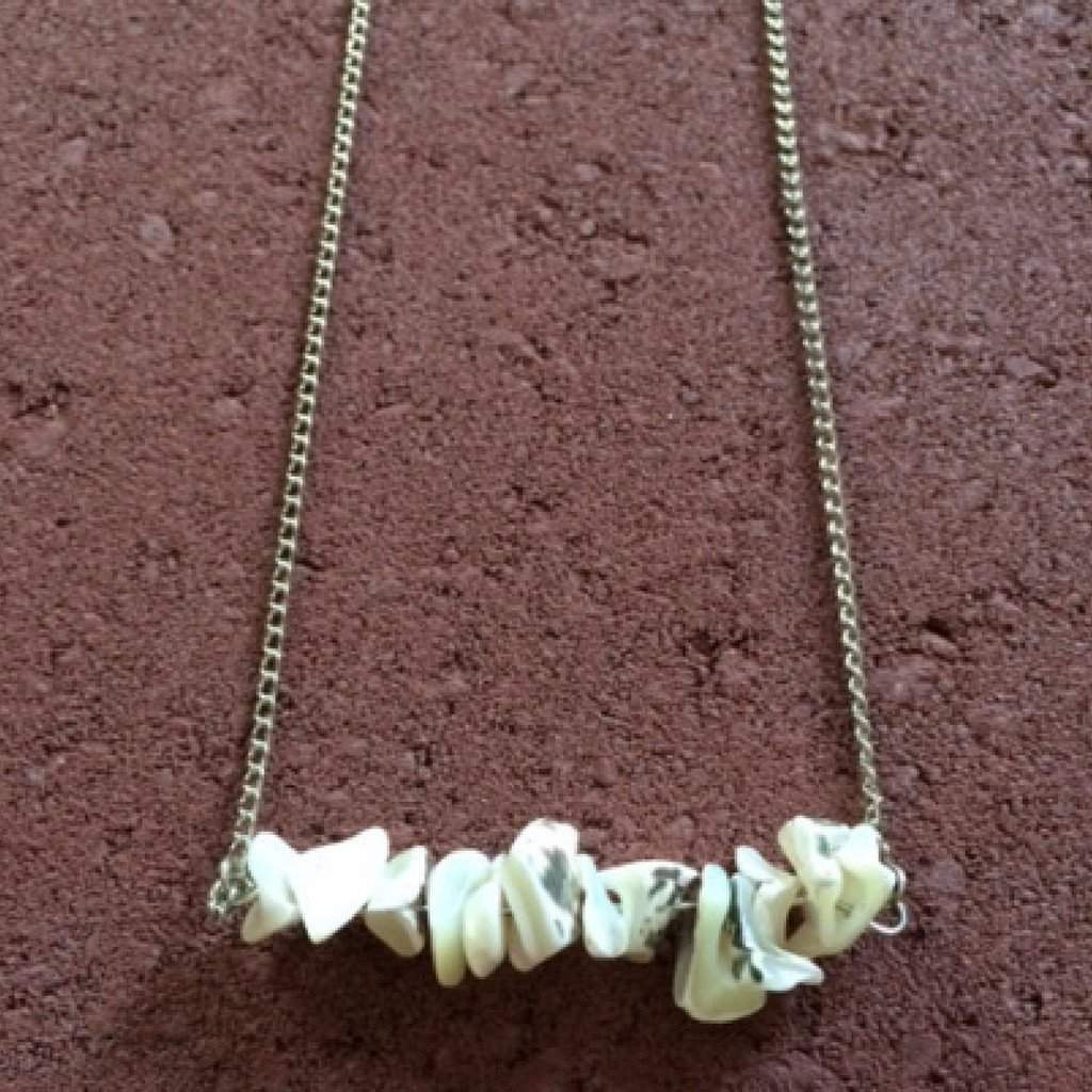 White and Black Shell Bar Necklace