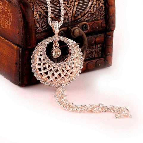 Gold and Crystal Lattice Basket Long Necklace
