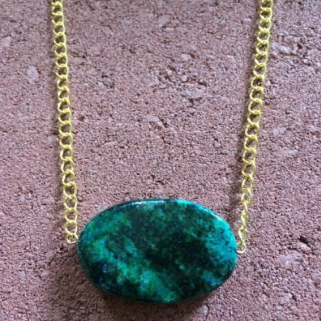 Yellow Turquoise Stone Necklace on Gold Chain