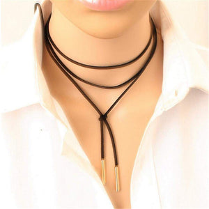 Long Black Suede Rope Choker Gold or Silver Tips - JaeBee