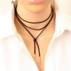 Long Black Suede Rope Choker Gold or Silver Tips - JaeBee Jewelry