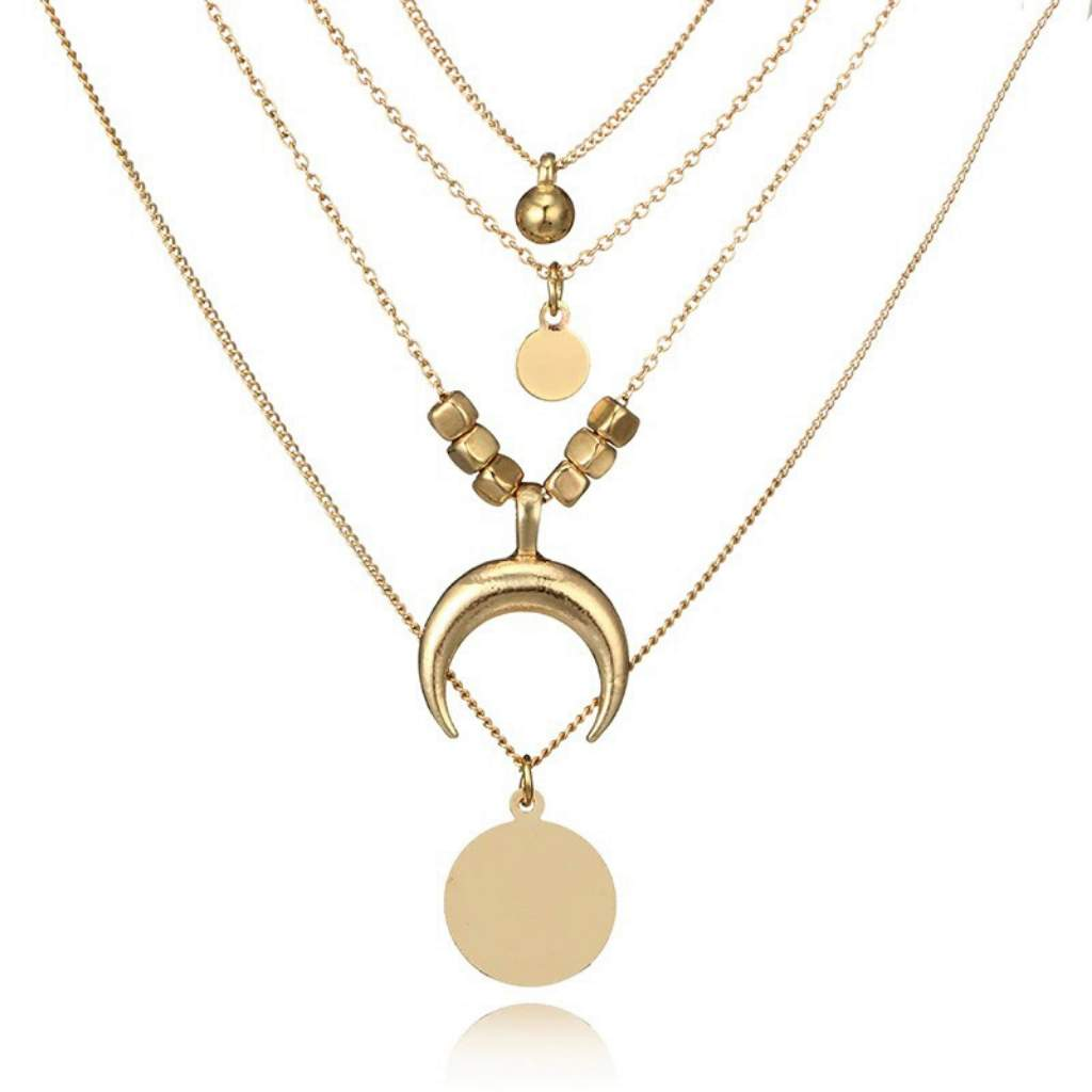 Gold Layered Crescent and Disc Necklace - JaeBee Jewelry