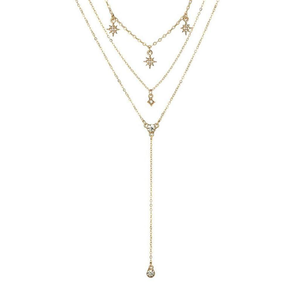 Gold Starburst Lariat Necklace - JaeBee Jewelry