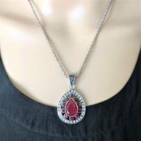 Antique Red Teardrop Pendant Silver Chain - JaeBee Jewelry