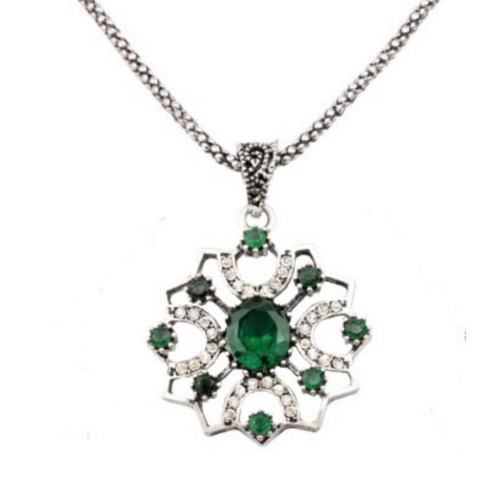 Antique Green Stone and Silver Ornate Pendant Necklace - JaeBee Jewelry