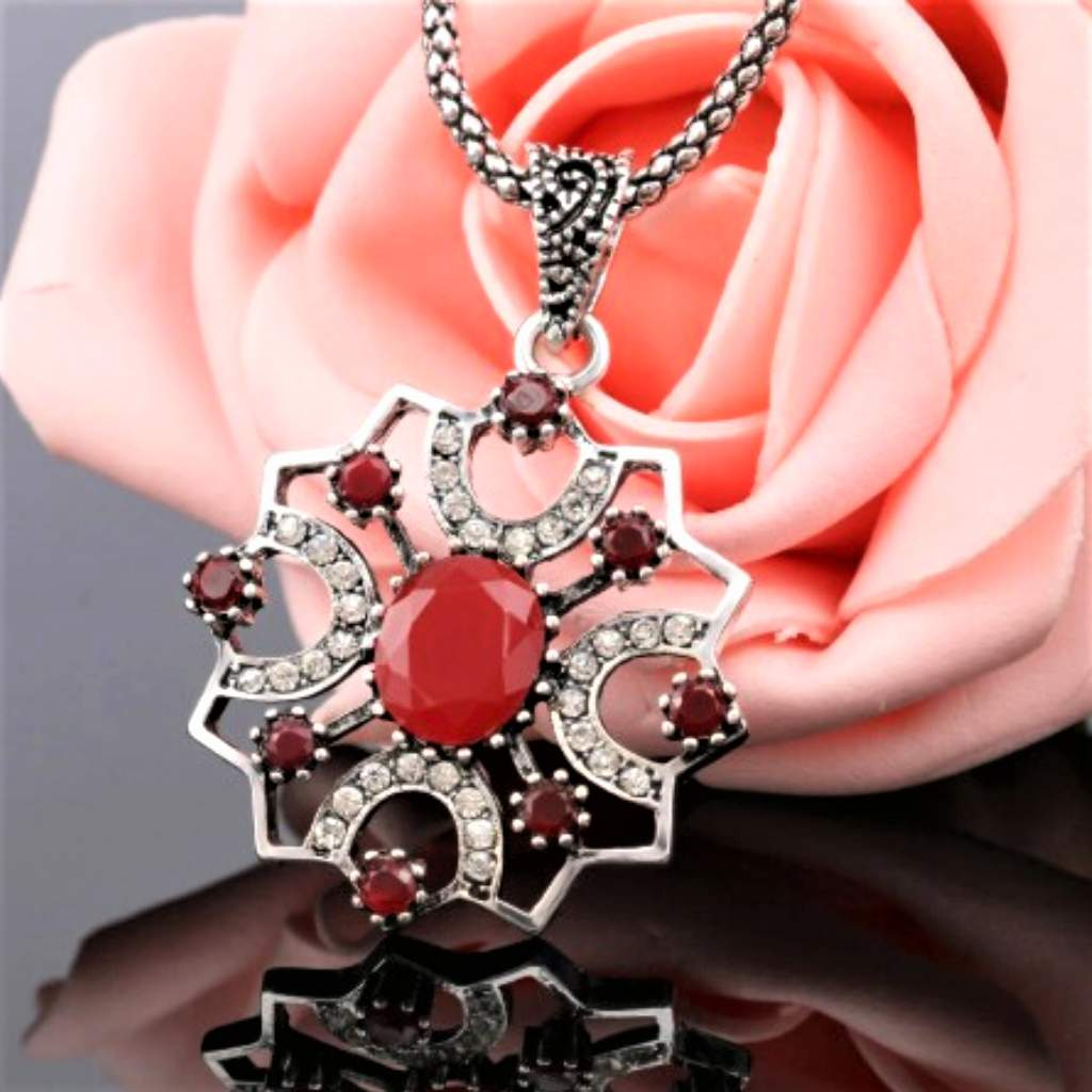 Antique Red Stone and Silver Ornate Pendant Necklace
