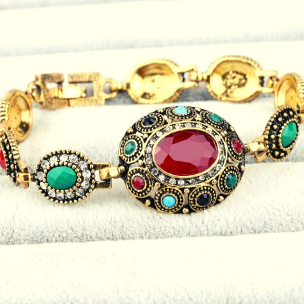 Vintage Gold Link Bracelet with Red and Green Stones