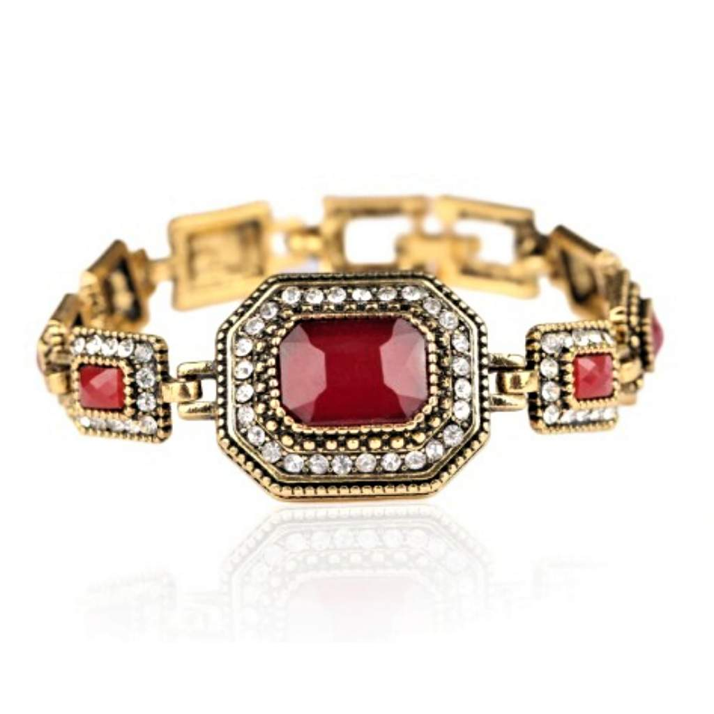 Vintage Gold Link Rectangle Bracelet with Red Stones - JaeBee Jewelry