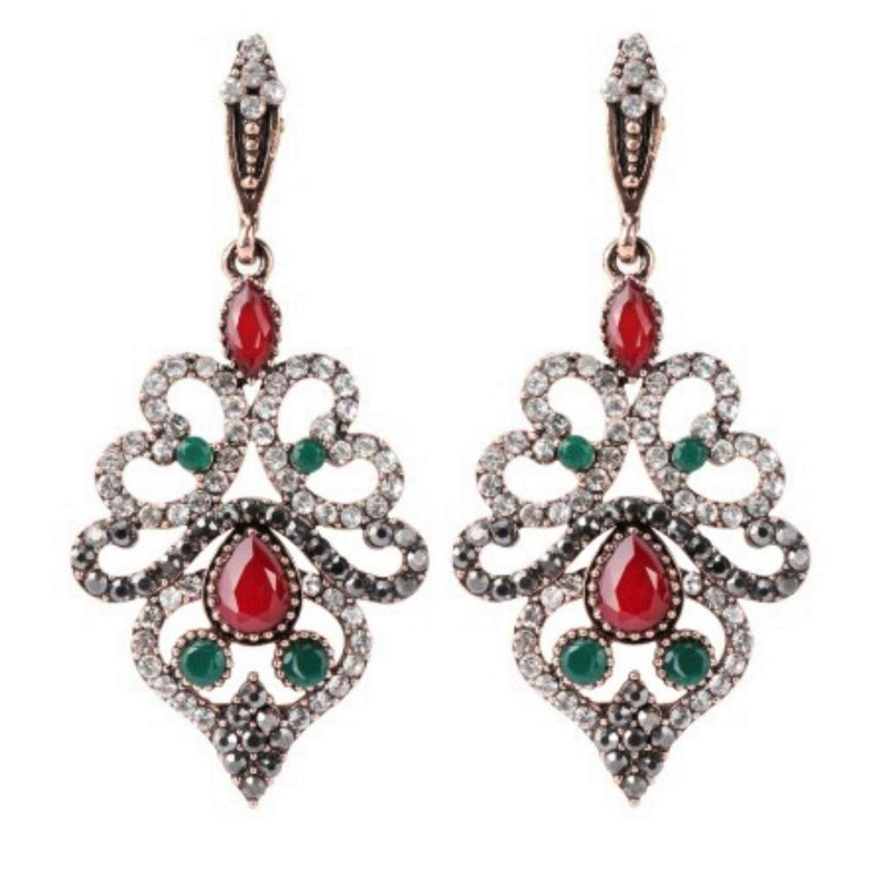 Red and Green Crystal Antique Gold Long Earrings - JaeBee Jewelry