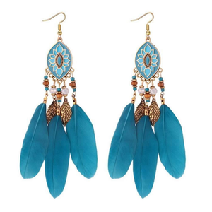 Long Teal Blue Feather Dangle Earrings - JaeBee