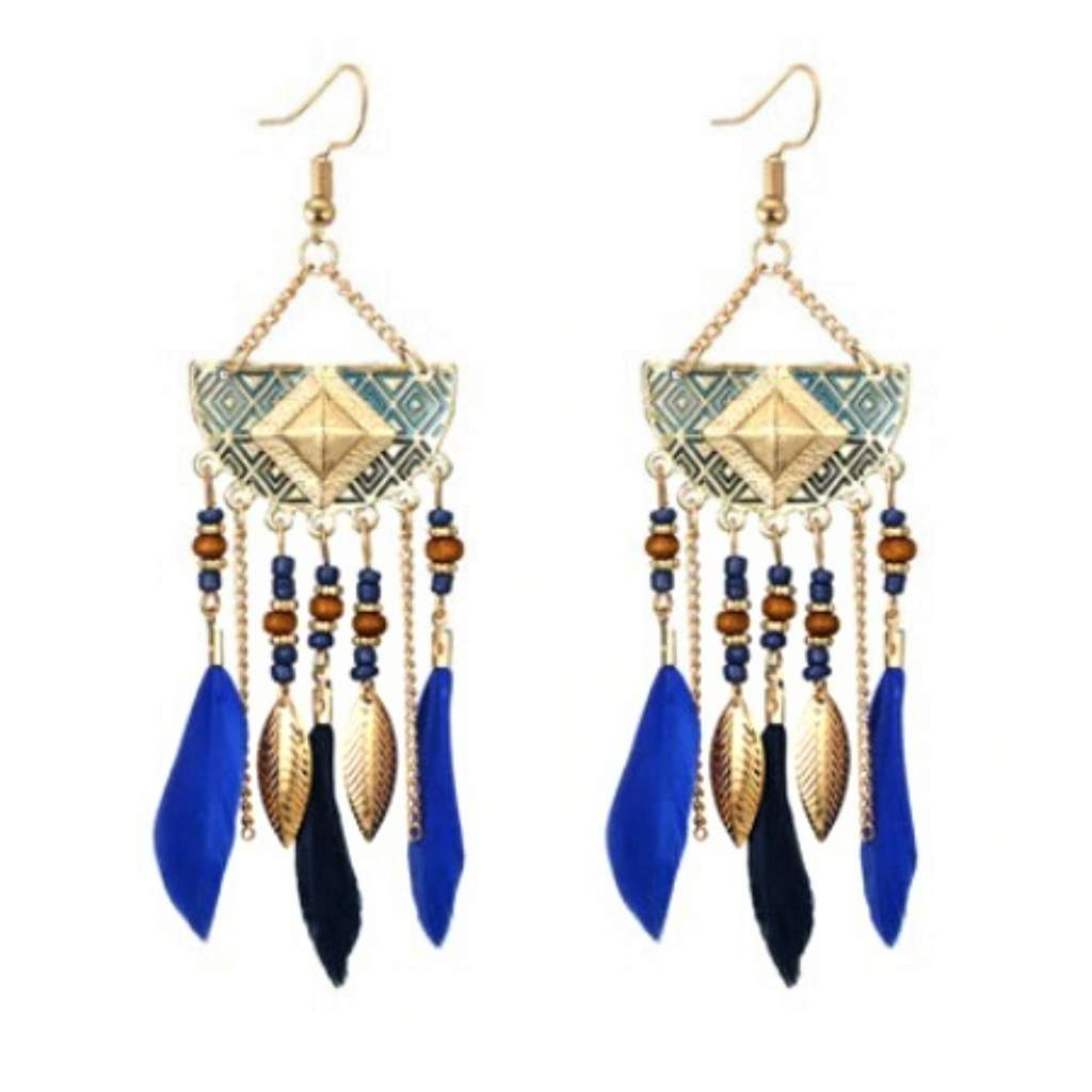 Blue Feather Long Gold Dangle Earrings - JaeBee Jewelry